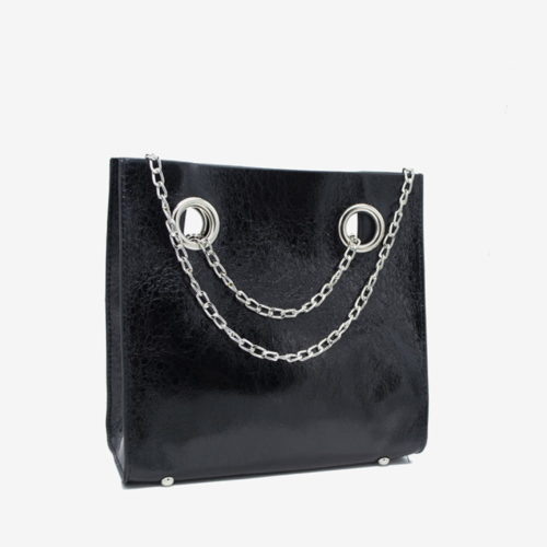 блестящая сумка черная