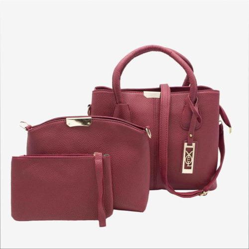 женская сумка 3 в 1 бордовая